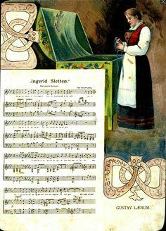"""Kunstnerkort Gustav Lærum LÆRUM, GUSTAV. Uvanlig høyformat kartongkort med """"Ingerid Sletten"""" med noter og motiv. Tidlig 1900-tallet"""