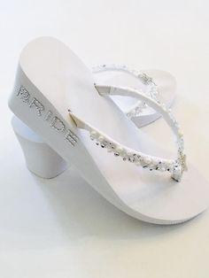 fbeb4d558bca0d White Wedding Flip Flops.Bridal Flip Flops.Wedding Shoes. Beach Wedding  Shoes.Bridal Slippers Wedges. Bridesmaid Shoes. Bridal Sandals