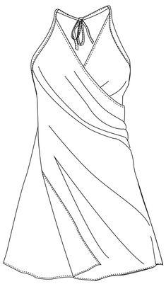 Dies ist so ziemlich der einfachste Kleiderschnitt, den ich kenne. Das fertige Kleid ist eigentlich nur ein Tuch und wird um den Körper gewickelt. Vorne überlappen sich die beiden Stofflagen. Und in der Taille und im Nacken wird das Strandkleid mit Bändern geschlossen.   Es ist schnell genäht und passt in jede Reisetasche - wenn du Seide für das Kleid nimmst, passt es sogar ins Handgepäck.