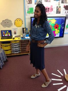 Work wear for a primary school teacher denim shirt