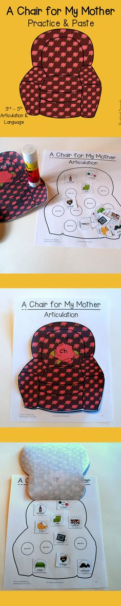 A Chair for My Mother Book Companion for Mixed Group Speech Therapy Articulation Therapy, Speech Therapy Activities, Language Activities, Articulation Activities, Theme Of A Story, Reading Intervention, Reading Skills, Shades Of Meaning, Similes And Metaphors