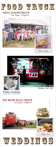 Food truck mobile catering for wedding reception food is a trend that is catching on and becoming very popular. #weddingfood #weddingcatering #jevelweddingplanning