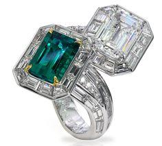 David Mor emerald and diamond bypass ring Unique Diamond Rings, Round Diamond Engagement Rings, Jewelry Rings, Fine Jewelry, Jewellery, Emerald Jewelry, Emerald Rings, Emerald Diamond, Diamond Gemstone