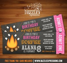 Printable Bonfire Chalkboard Ticket Birthday Invitation | S'mores Party | Roast and Toast | Camping | Glamping | Beach Bonfire Party | Girls Summer or Fall Party | FREE thank you card included | Printable Matching Party Package Decorations Available! Banner | Signs | Labels | Favor Tags | Water Bottle Labels and more! www.dazzleexpressions.com