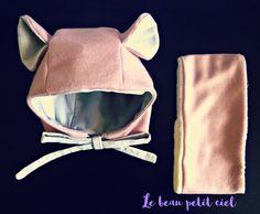 Bonnet et snood/tour de cou pour bébé taille 3/6 mois Vieux rose cadeau naissance : Mode Bébé par cielito-lindo