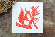 Original unframed Lino Print of a British Red Squirrel. Printed onto 25x25cm Canaletto Velino 300gsm artist paper. Created by the traditional method of linocut, I have hand carved a lino block from one of my own illustrations and handprinted each print. Due to the nature of lino printing there may be some variation in the print and texture, making each print unique in itself. This print will be a limited edition of 50 prints, and I will sign and number each one. Every print will however be…