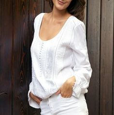 Beautiful Scoop Neck Shirt in White.