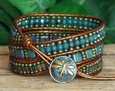 Beaded Triple Wrap Bracelet, Turquoise Bronze Wrap Bracelet, Tile Cube and Seed Bead Wrap, Modern Bohemian Artisan Jewelry, Gift For Her Beaded Wrap Bracelets, Beaded Jewelry, Handmade Jewelry, Crochet Bracelet, Jewelry Necklaces, Beaded Leather Wraps, Dragonfly Jewelry, Hippie Jewelry, Schmuck Design