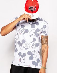 ASOS x MICKEY AW14 DISNEY T-Shirt With All Over Mickey Mouse Print