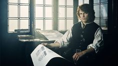 Starz also released three photos from the new season, including one of Jamie (Sam Heughan) in his iconic print shop, and a recap video of the past two seasons.