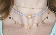 Choker necklace set star faux leather star 3 strand