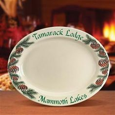 Personalized Holiday Platter with Mountain Cabin Design