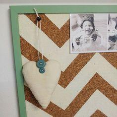 Painted chevron pattern on cork board