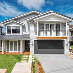 Hamptons popular home design exudes elegance with a timeless style... replicate this look with our Classic Smooth range.  100% natural, termite resistant and suitable for harsh conditions. #homeliving #hamptons #builttolast #cladding #weatherboard #natural #hamptonsstyle #buildings #residentialdesign #exteriordesign #facade #housefacades