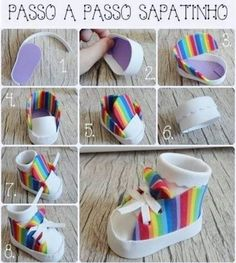 Multi stripe hi top baby sneaker with rolled cuff socksCan also be done in fondant or gumpasteLots of gift wrapping Ideasa rainbow high topDecor cake and Cupcakes Girl Doll Clothes, Girl Dolls, Baby Sneakers, Baby Shoes, Doll Shoe Patterns, Baby Girl Cakes, Cake Baby, Fondant Figures, Cake Decorating Tutorials