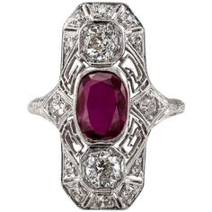 Art Deco Ruby Diamond Platinum Dinner Ring | From a unique collection of vintage cocktail rings at https://www.1stdibs.com/jewelry/rings/cocktail-rings/