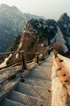 Xian, China - this ancient trail leads to a tea house.  However, you have to walk on planks without a railing after this part!