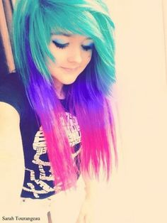 emo girl teal , blue and pink hair