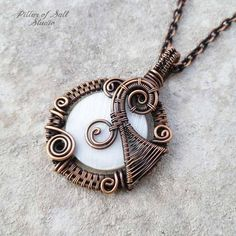 Wire Wrapped jewelry handmade copper jewelry white mother