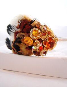 Feather headband Pheasant Feather Side Tiara