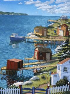 Up the Coast, 36 X oil on canvas, by Nova Scotia artist Paul Hannon. Nautical Quilt, Country Landscaping, Naive Art, Canadian Artists, Nova Scotia, Stone Painting, Painting Inspiration, Home Art, Watercolor Art