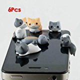 MBOUTLETS 6pcs Cheese Cat 3.5mm Anti Dust Earphone Jack Plug Stopper Cap for Iphone HTC