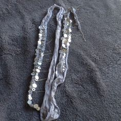 Authentic Chan Luu Fantine Skinny Scarf Lavender grey with beading and silver metal detail. Chan Luu Jewelry Necklaces