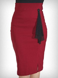 $54.00Go retro with this lovely high waisted pencil skirt, from Rock Steady. It is made of a gorgeous cranberry hued stretch twill fabric and features a black button accent, black swiss dot mesh lace flounce on the front, and a slit at the bottom. Classic pin-up inspired styling that'll show off your sexy curves!