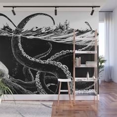 Kraken Rules The Sea Wall Mural by Nora Surojegin - X Sea Murals, Ocean Mural, Ceiling Murals, Floor Murals, Mural Wall Art, Bathroom Mural, Bedroom Murals, Bedroom Wall, Wall Drawing