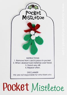 Invite kisses on the fly this year with our DIY Pocket Mistletoe! It's a fun little idea to give as a gift too and we supply a free printable tag and instructions. You'll never miss out on a chance to grab a kiss with this in your pocket!