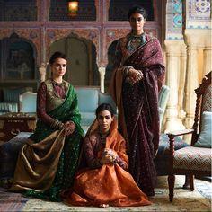 Ladies in earth-toned Varanasi organza sarees, block printed 'kanthi' blouses and 'tilla' embroidered miniature gilets. All jewellery from the Sabyasachi archives. Party Wear Lehenga, Bridal Lehenga Choli, Lehnga Dress, Indian Dresses, Indian Outfits, Indian Clothes, Churidar, Anarkali, Indiana