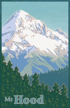 images of travel posters   Mitch Frey - Vintage Mount Hood Travel Poster