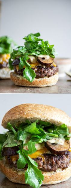The Best Cheeseburgers with Sauteed Mushrooms and Arugula I howsweeteats.com - for inspiration only. used my own burgers, cheddar, no fontina, mayo instead of mustard sauce, leftover mushrm and greens mix. and arugula. yummy.