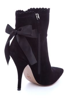 Cece L'Amour | Suede pointed toe ankle boot with bow back tie | back