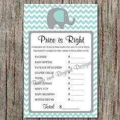Price is Right Game Elephant Baby Shower Game Light Teal Grey Chevron PRINTABLE Game Little Peanut Party Game DIY Instant Download - 013