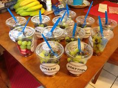 Baseball themed Fruit Cups for snacks after a game! Healthy and nutritious