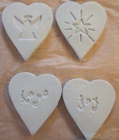 stamped DIY clay ornaments