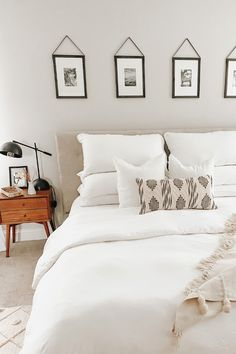 Create a hotel like experience in your bedroom by using white linen sheets and natural wood decor details. Featuring white 100% linen bedding from MagicLinen. Linen Sheets, Linen Bedding, Natural Wood Decor, White Bedroom Decor, Picture Frames, Gallery Wall, Paint, Blanket, Interior Design