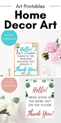 Beautiful Art Printables by ElleCherieDesigns First Apartment Decorating, Decorating Small Spaces, Home Decor Paintings, Art Decor, Decor Ideas, Gift Ideas, Decoration, Bathroom Art, Decorate Your Room