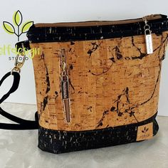 Excited to share this beauty of a sling bag to my sho Cork Fabric, Fabric Bags, Sew Bags, Bags Sewing, Tote Bags, Bag Pattern Free, Bag Patterns To Sew, Sling Bag Patterns, Sewing Patterns