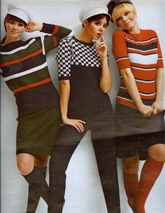 Colleen Corby 1960s Fashion. Stripe and Checker sweater!