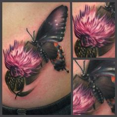 The latest tattoo by Ryan Mullins at Art_Junkies , California. US Tattoo Scene. I usually fond to butterfly tattoos but this is gorgeous. Weird Tattoos, Side Tattoos, Hot Tattoos, Flower Tattoos, Body Art Tattoos, Butterfly Tattoos, Tatoos, Scotland Tattoo, Scottish Thistle Tattoo