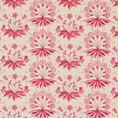 Primrose & Columbine Fabric An attractive depiction of the flowers in claret red. The 'Primrose & Columbine' design is inspired by Morris' ceramic tiles.
