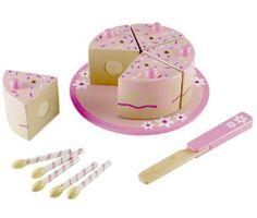 girls pretend wooden birthday cake