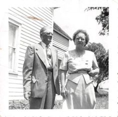 Black and White Vintage Snapshot Photograph Elderly Couple Dress Yard 1950's