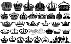 Black And White Crown Tattoos Designs