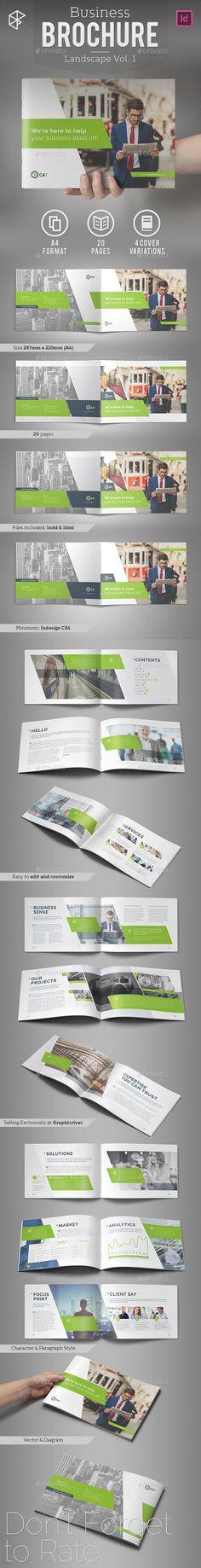 Landscape Business Brochure Template InDesign INDD #design Download: http://graphicriver.net/item/business-brochure-landscape-vol-1/14376917?ref=ksioks
