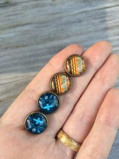 Blue Aztec earrings Orange Tribal stud earrings stud by LunaSavita
