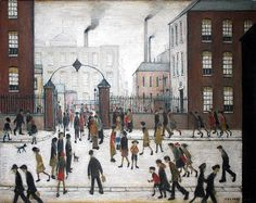 L.S. Lowry. Pretty sure this was the painting in the hall at primary school