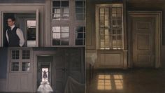 """Top, Bottom: Stills from Hooper's """"The Danish Girl""""; Right: Vilhelm Hammershøi """"Sunlight on the Floor,"""" 1906. The Hammershøi force is strong in this one."""